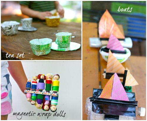 Summer Crafting...making tea sets, boats, and magnetic peg people...