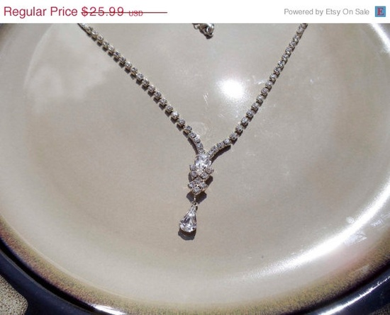 20 OFF Vintage Rhinestone Flapper Necklace by PaganCellarJewelry, $20.79