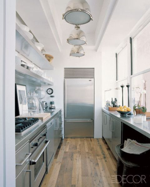 Stainless steel galley kitchen design. More at: www.myhomerocks.c... #homedesign