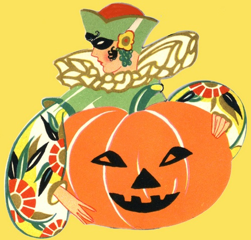 Full Floral--Deco Vintage Flapper Halloween Bridge Tally