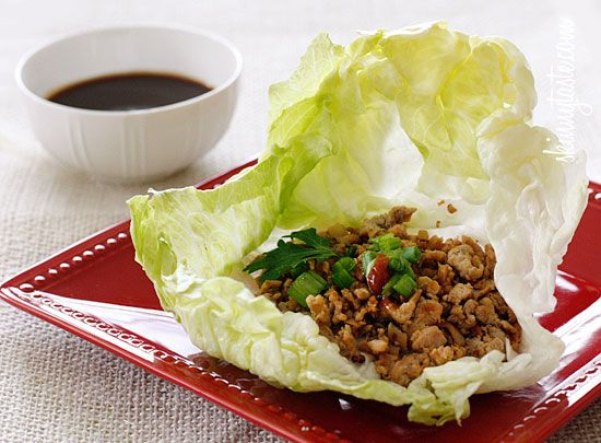 Asian Chicken Lettuce Wraps - Lettuce is the perfect low-carb solution and doesn't interfere with the flavors of the filling.