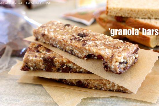 "The kids will love these: Almond Butter Dark Chocolate ""Granola"" Bars #Paleo #GlutenFree"