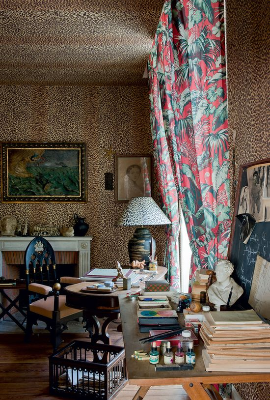 Jean Cocteau - wall to wall leopard, 2 desks, portrait of his Mother in corner