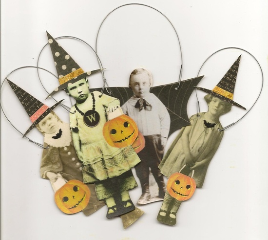 4 HALLOWEEN Trick or Treat Paper Ornaments Altered Art Witch Bat Boy.