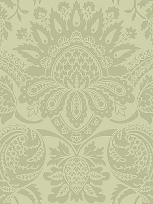 Cole & Son Wallpaper Dukes Damask-Olive $132.50 per 11 yard roll #interiors #decor #greenwallpaper #royaldecor