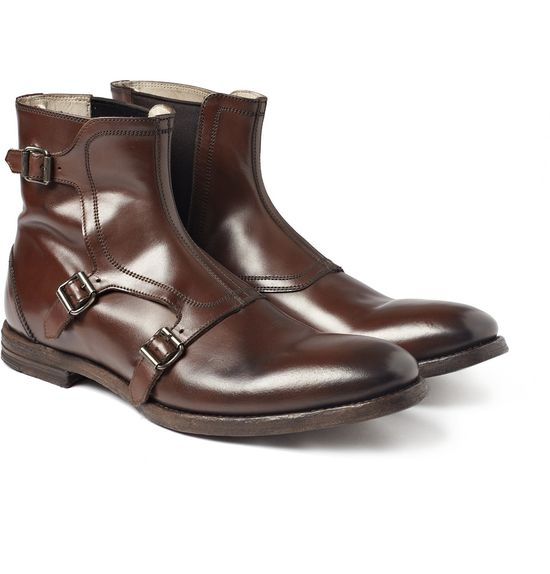 Buckled Leather Boots by Alexander McQueen #Boots #Alexander_McQueen
