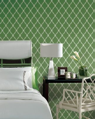 Green Trellis Wallpaper #interior #decor #schumacher