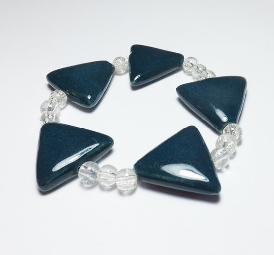 Peacock Porcelain Triangle and Clear Crackle Glass by tzteja, $10.00  #bracelet, #beaded, #designsbytamiza, #handmade, #ooak, #porcelain, #ceramic, #triangle, #peacock, #teal, #turquoise