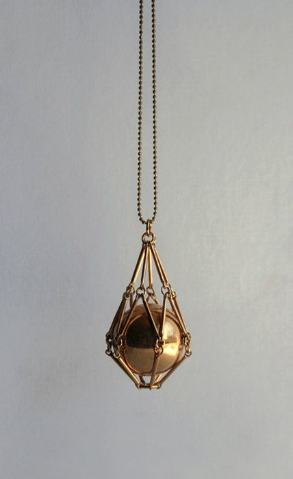 Gold geometric necklace.