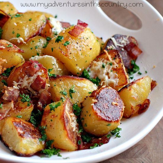 This looks delish….oven roasted potatoes with bacon, parmesan, and garlic….