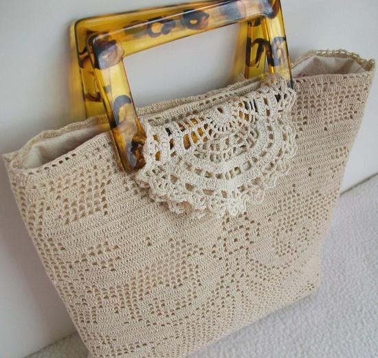 Upcycled doily bag