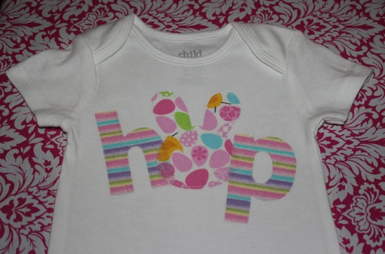 Easter HOP Girls Shirt or Onesie by yellowstroller on Etsy, $14.00