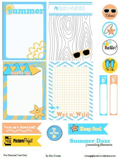 Free Summer Days Journaling Cards and Labels