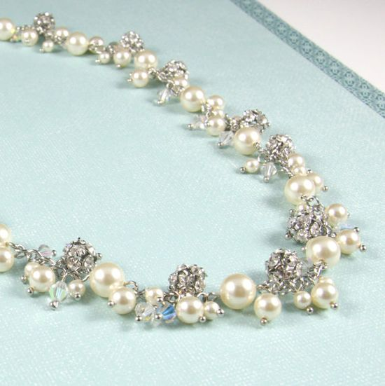 Gena Statement Bridal Necklace Crystal Fireball by GlitzAndLove