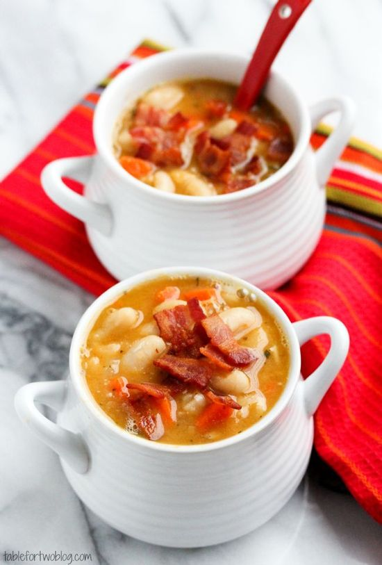 Creamy White Bean and Bacon Soup from  @Julie {Table for Two}