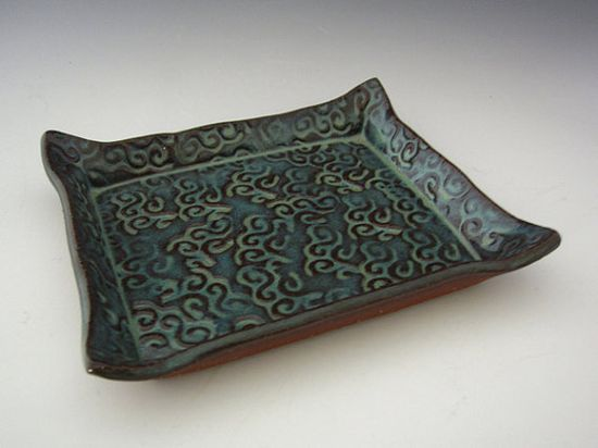 Blue Hawaii Soap Dish - Handmade Pottery