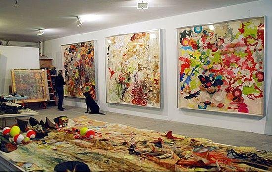 Judy Pfaff in her studio