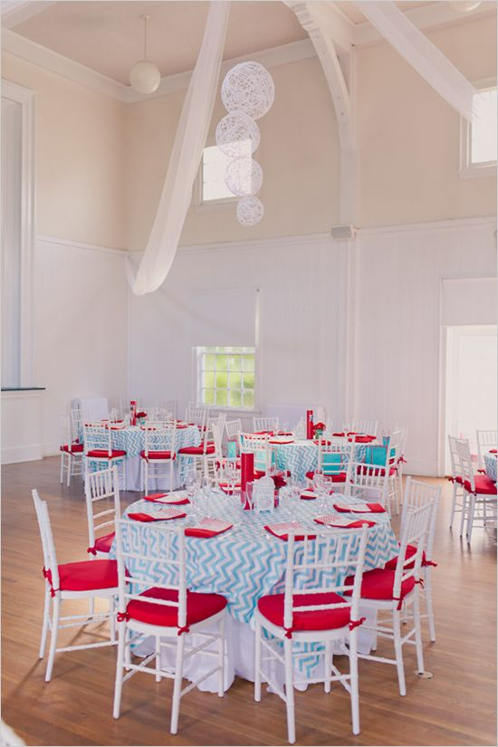 I love this for a red and blue wedding. (Currently undergoing color confusion!)