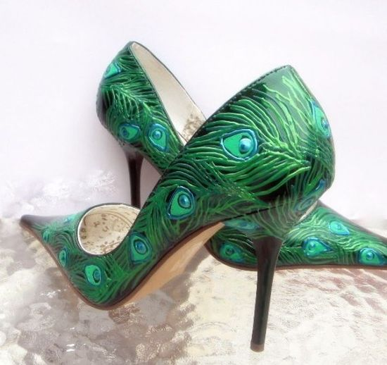 Peacock feathers painted on emerald green pumps