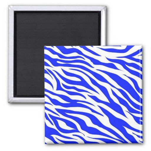 Trendy Blue White Zebra Stripes Wild Animal Prints Magnets