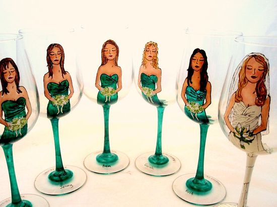 bridesmaids in green dresses, bride in white gown - painted glassware (by pickle lily design) #handmade #wedding #bridal-party
