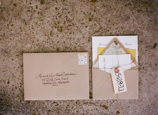 kraft paper wedding invitations // photo by AustinGros.com