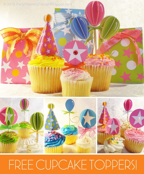 Free 3D cupcake toppers for birthday parties!