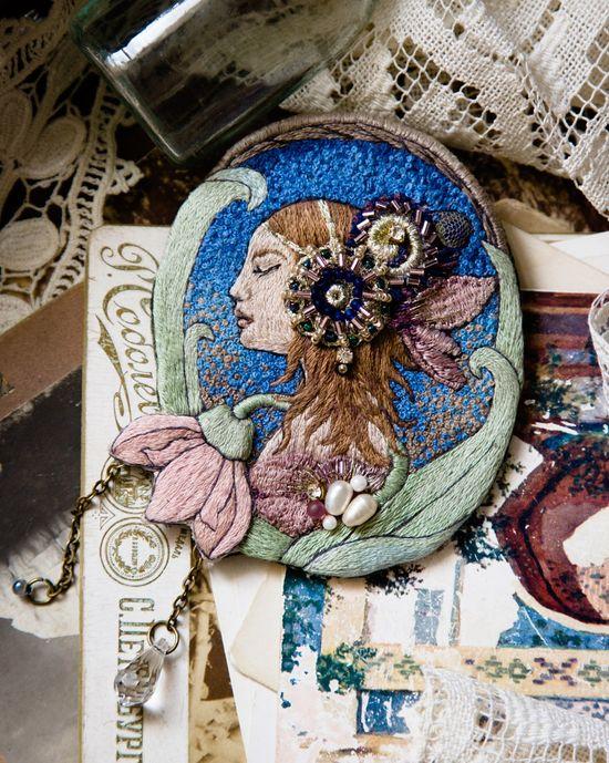 unique hand embroidered brooch art nouveau art deco style brooch hand embroidered jewelry