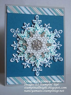 Stampin' All Night Festive Flurry Snowflake Card Order Stampin' Up! products online #pet boy