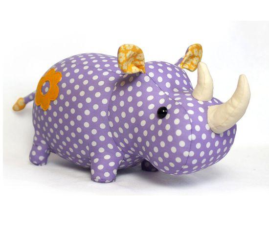 Rhino stuffed animal toy sewing pattern by DIYFluffies on Etsy
