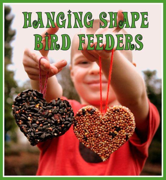 "Hanging Shape Bird Feeders #kids #crafts #ece #nature #homeschool.  ""Not ju"