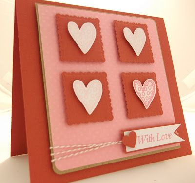 handmade Valentine card ... pink and red ... four square of deckled edged inchies ... doodle style hearts cut out and popped up ... fish tail flag with sentiment ... like this card!