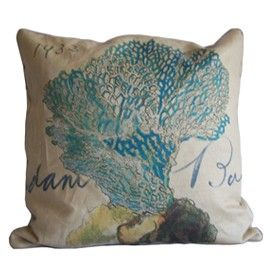 linen blue coral pillow
