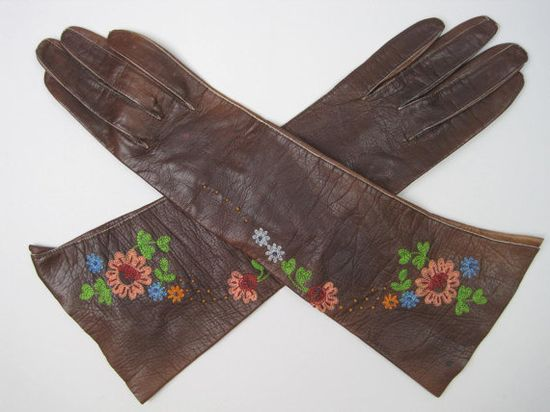 Vintage KID LEATHER GLOVES Antique by regenerationclothing on Etsy