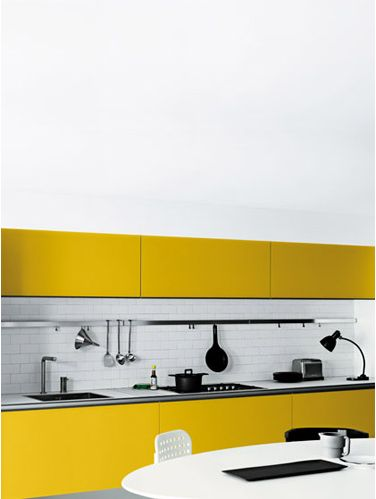 Nice kitchen yellow- nice new approach to kitchen finishes