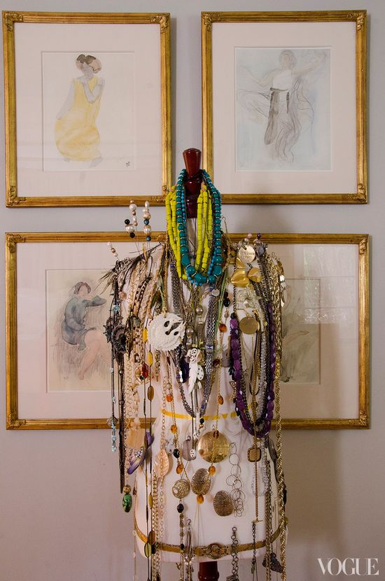 """The so-called """"necklace monster"""" in Lake Bell's West Hollywood home  #display #dressing_room #jewelry #organization #storage"""