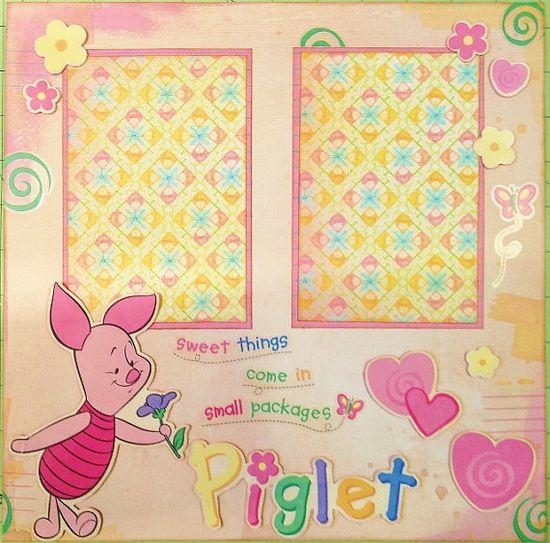 Disney's Piglet  12x12 Premade 1 Page Scrapbook by 2ScrappyGals, $9.95