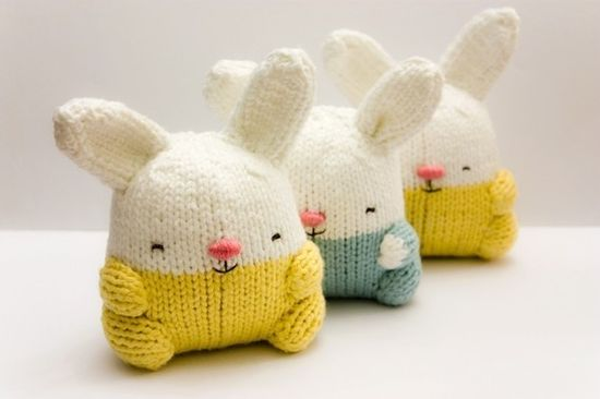 round knitted bunnies