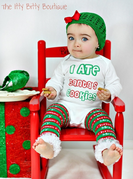 I ate santas cookies  The itty bitty boutique baby santa outfit
