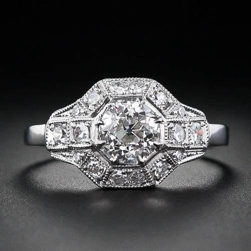 .75 Carat Octagonal Art Deco Diamond Ring