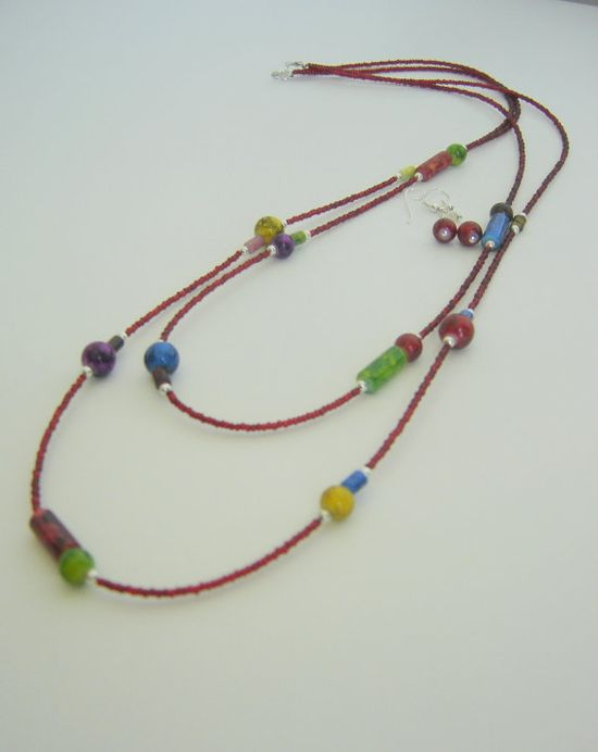 Colorful red necklace Double string necklace Beaded by BBBsDesigns, $18.00