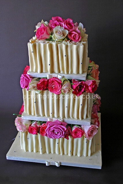 White Chocolate Ruffles & Fresh Roses Wedding Cake