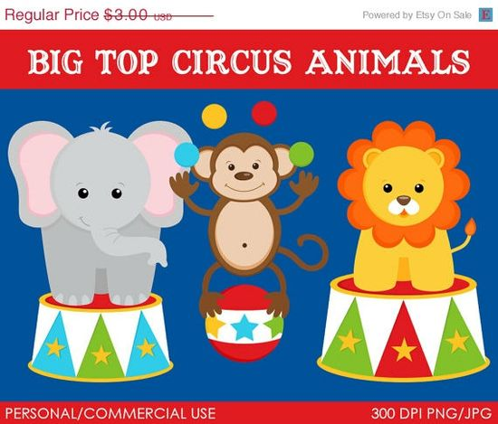 Big Top Animals Clipart - Digital Clip Art Graphics for Personal or Commercial Use