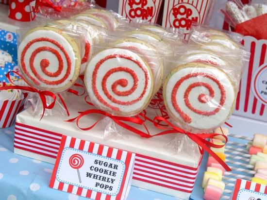 carnival party lollipop cookies