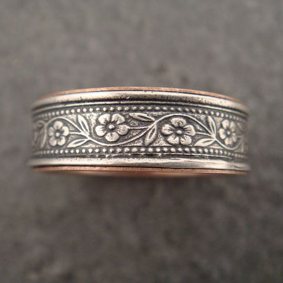 Wedding Ring with 14k Rose Gold Lining by DownToTheWireDesigns