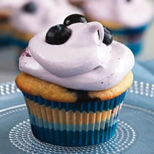Need a Patriotic Dessert? Try these super delicious Blueberry Cupcakes for your Fourth of July party. @EatingWell