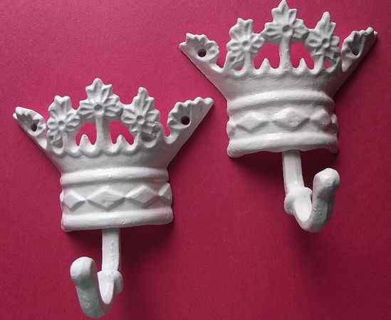 Cast Iron Princess Crown Wall Hanger/ Wall Decor  by happybdaytome,