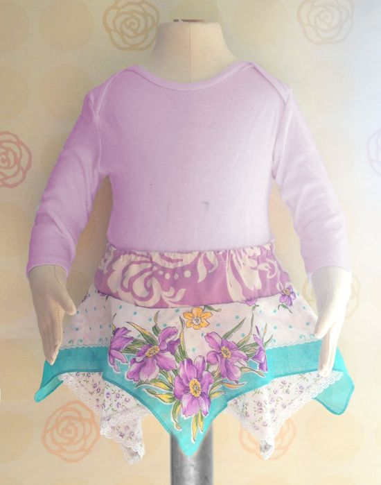 612 months size Baby Girl Skirt Refashioned by TastefulTikes, $15.00