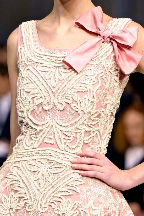 Bow and lace cutwork