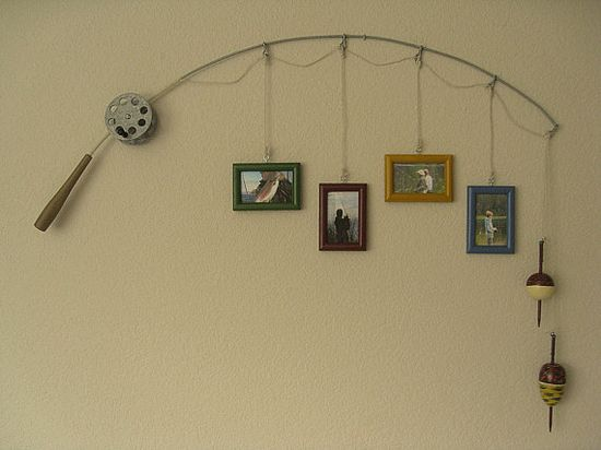 ideas for bedroom decor picture frames hanging from a fishing pole for one of the boy 39 s room. Black Bedroom Furniture Sets. Home Design Ideas